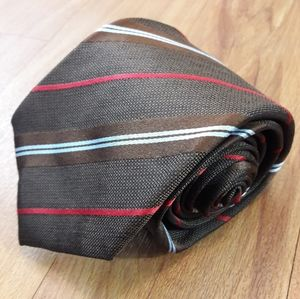 Isaia Napoli Silk Tie Made in Italy Brown Striped